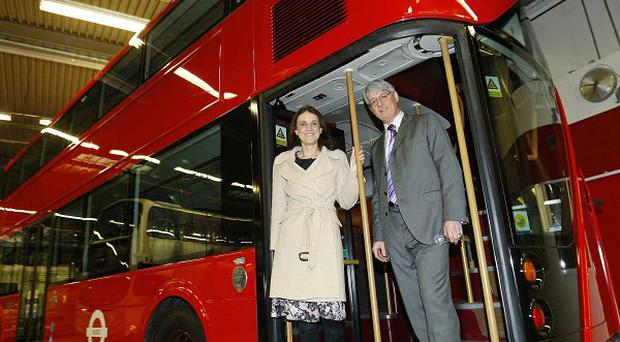Northern Ireland Secretary Theresa Villiers with Mark Nodder, group managing director of Wrightbus
