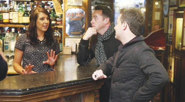 TV stars Ant and Dec in the Duke of York pub in Belfast