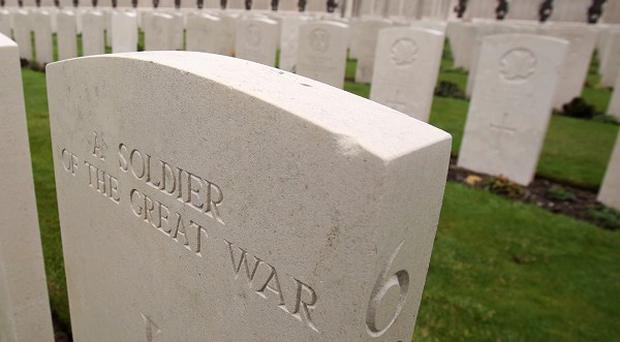 The graves of First World War soldiers at Tyne Cot Cemetery and Memorial Ypres, Belgium