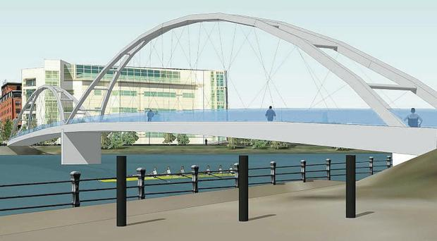 The nine designs shortlisted for a new walking and cycling bridge which will provide a link in Belfast city centre between the Gasworks and Ormeau Park. The bridge designs cost between £4m and £12m