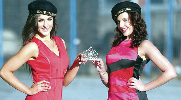 Paige McLaughlin (left) and Emma-Louise Dowie launch Miss Northern Ireland on the SS Nomadic