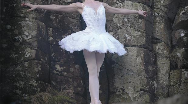 Ballerina Melissa Hamilton keeps perfect balance at the Giant's Causeway