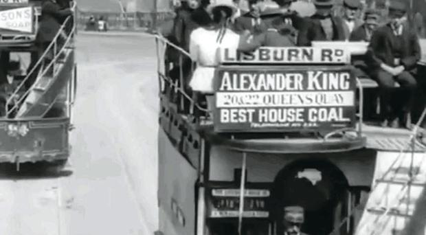 Images from the film, including a Belfast tram rumbling along