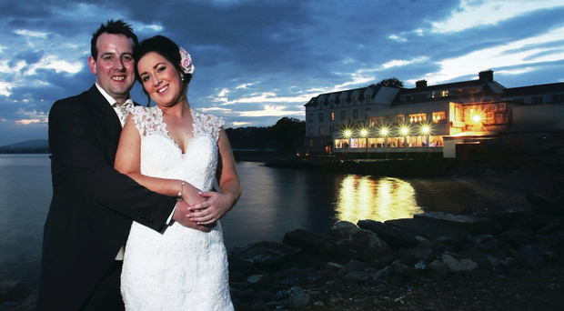 The Wedding of Ciara McIlwee and Brian Creighton which took place at St MacNissis Parish church in Randalstown and later at The Red Castle Hotel County Donegal. Photography By John Murphy Aurora Photographic Agency.