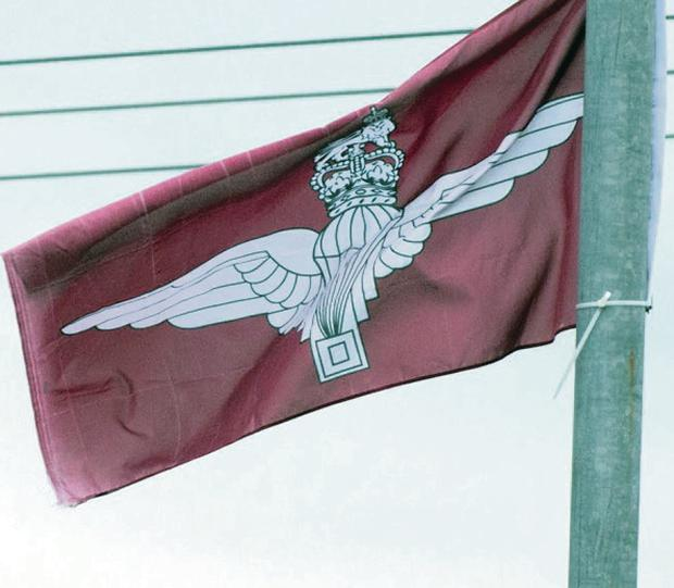 One of the Parachute Regiment flags in Newbuildings