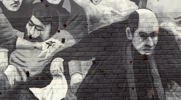 A mural at Free Derry Corner depicting the events of Bloody Sunday.