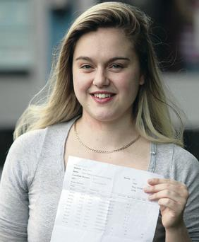 A smiling Amie Danby after receiving her A-Level results in August 2012