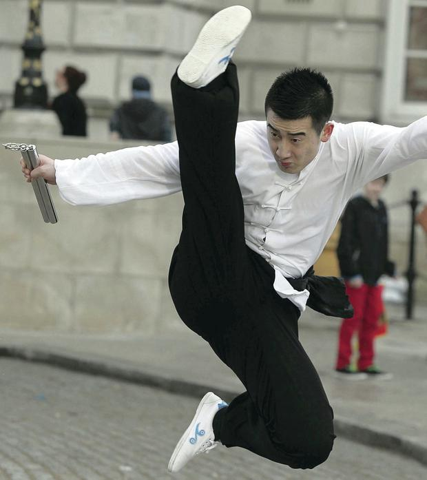 Yun Long Zhu who was preforming with the Urban Marshall Arts preform pictured at the Belfast City Hall