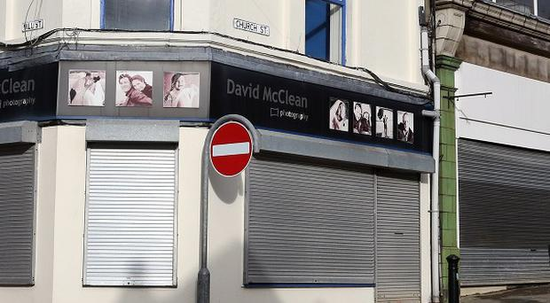 Closed shops in Ballymena town centre, Co Antrim, as a fifth of shops in some Northern Ireland town centres are lying empty following the recession, it was revealed