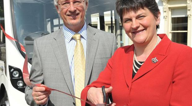 Wright Group boss Mark Nodder, pictured with Arlene Foster, has called for more help for exporters