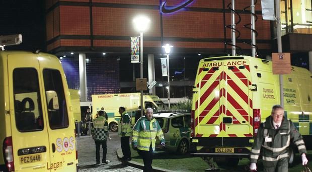 Ambulance staff at the Odyssey, where a major incident was declared after fans turned up already drunk for a gig
