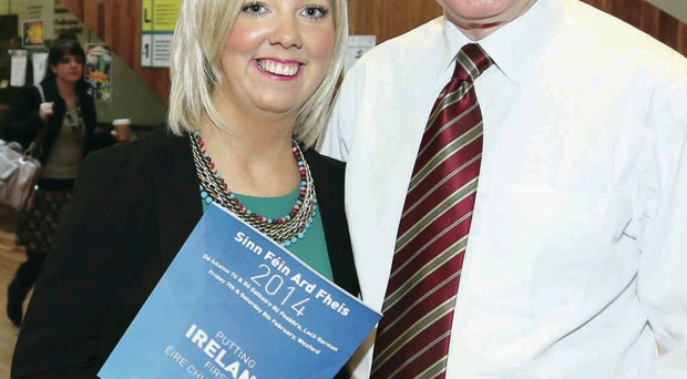 Teacher Catherine Seeley with Deputy First Minister Martin McGuinness