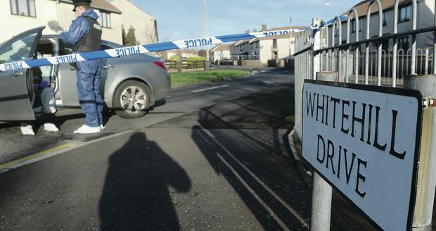 Police at the scene of Monday morning's shooting at Whitehill in Bangor