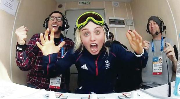 Northern Ireland snowboarder Aimee Fuller losing it over Jenny Jones' snowboarding medal win