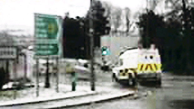 PSNI Land Rover snapped as it returned across the border