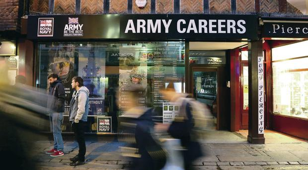 The Army careers office in Canterbury, Kent, one of the recruitment offices where suspected explosive devices have been found