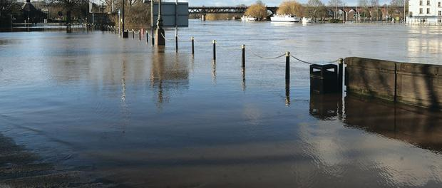 Hylton Road in Worcester was closed to all vehicles and pedestrians as the River Severn reached its highest level