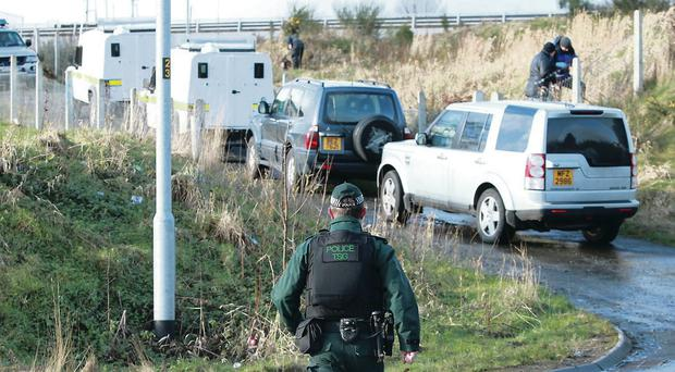 Technical officers carry out a search operation in the Parkhead Crescent area of Newry