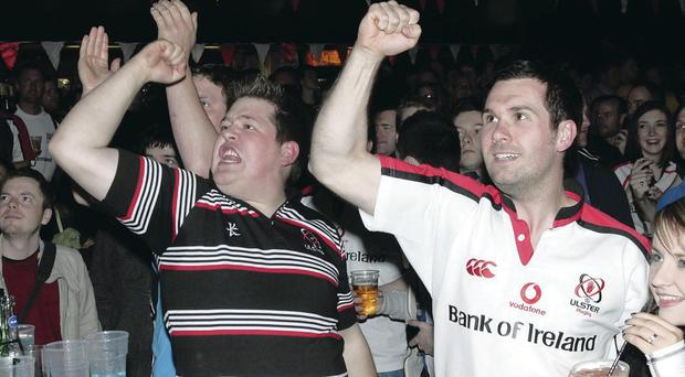 Ulster Rugby fans watching Heiniken Cup Final at the Botanic Inn, Belfast in 2012
