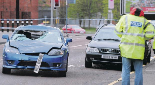 The scene of the incident at Cromac Street, Belfast, in which pedestrian Niall Harrigan was fatally injured