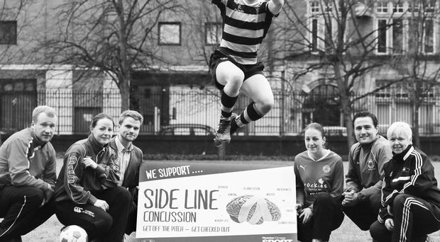 Young Athletes from Royal Belfast Academic Institute and Victoria College join William Hayhurst to officially Launch Sideline Concussion