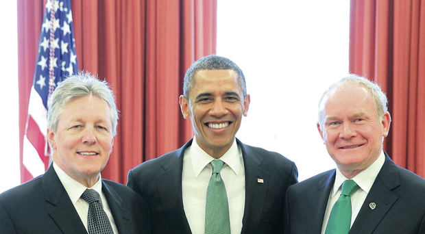 Peter Robinson and Martin McGuinness with President Obama in the White House last year
