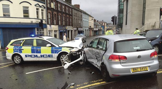 The scene in Ballymena after the three-car crash involving a police car and two other vehicles