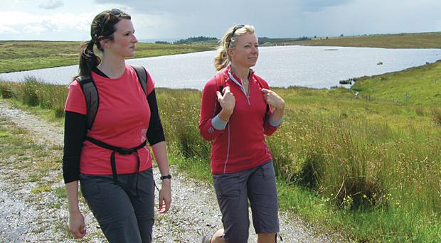 Two walkers enjoy the Ulster Way
