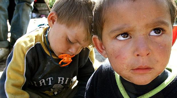 Two Roma children at a camp in Dublin