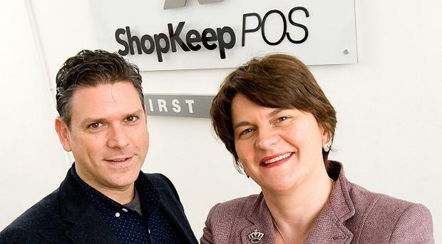 Enterprise, Trade and Investment Minister Arlene Foster with Founder and CEO of ShopKeep POS Jason Richelson as they announced that the US company is to set up an office in Belfast that will create 35 high quality jobs