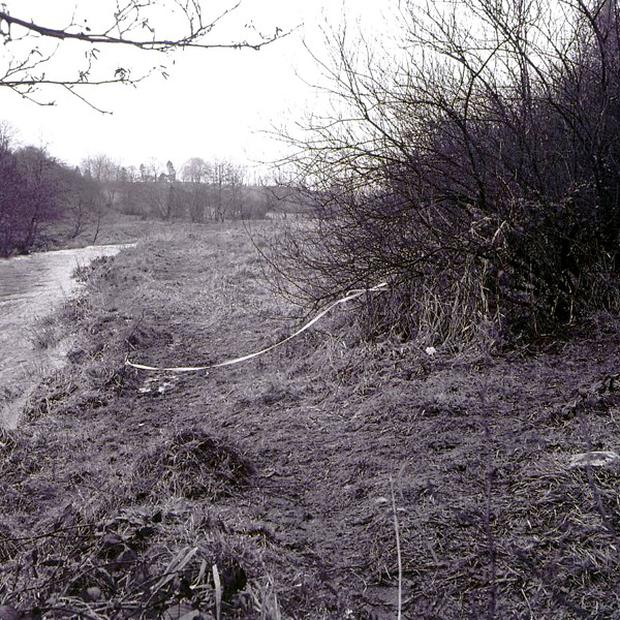 The scene where a baby boy's body was discovered on the banks of the river Lagan at Legacurry Road, Lisburn, on February 21 1984 (PSNI/PA)