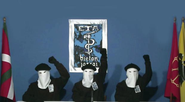 Masked members of the Basque militant group Eta at a news conference