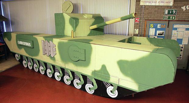 The replica Churchill tank built by pupils at Downshire School