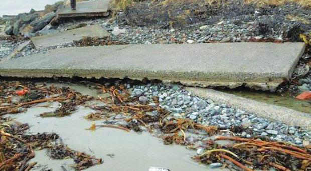 Portavogie Path that has collapsed after waves undermined foundations