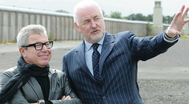 Terence Brannigan (right), chairman of the Maze/ Long Kesh Development Corporation, with architect Daniel Liebeskind