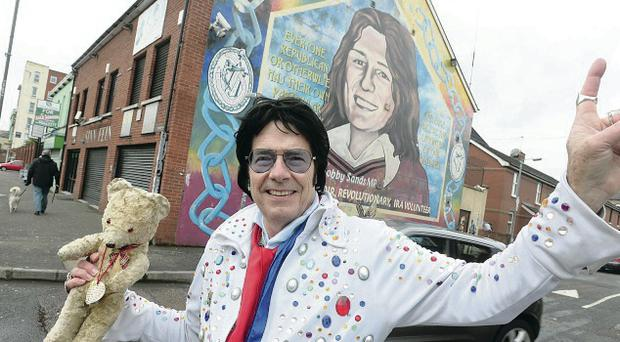 Rev Andy Kelso during peace line walk up the Falls Road and down the Shankill Road