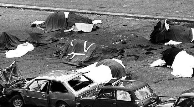 The scene in London's Hyde Park July 20, 1982, where four soldiers and seven horses died when an IRA bomb was detonated as members of the Household Cavalry were passing.