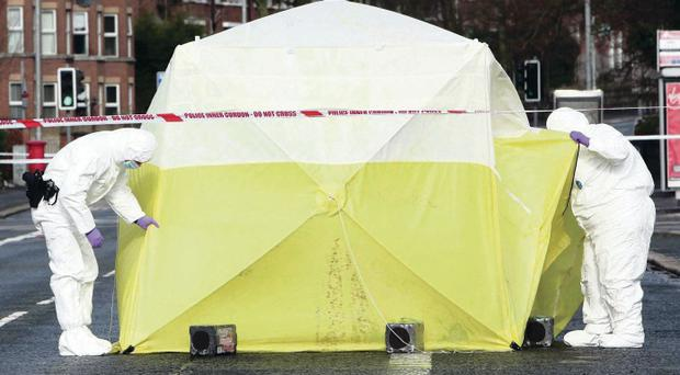 Scene of the attack: Conor Lewsley was beaten on the Antrim Road