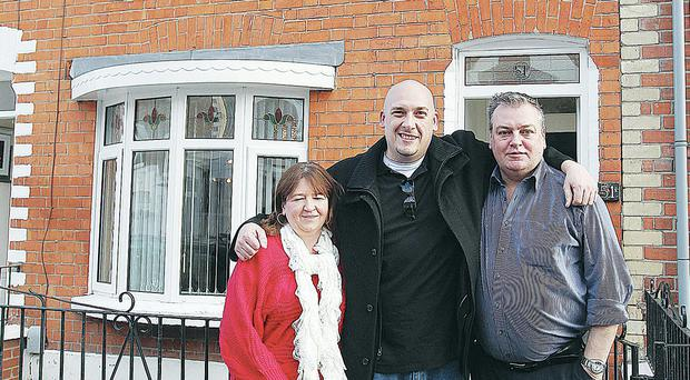 American Tom Decker (centre) with possible distant relatives Briege McGouran and her brother Joe