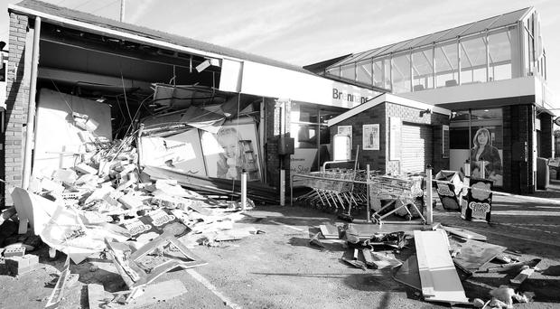 The destruction left by the ATM raid gang at the service station in Seaforde