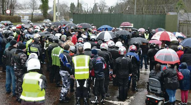 A prayer service at the former Army barracks at Massereene was followed by a 'ride out' in memory of murdered soldiers Mark Quinsey and Patrick Azimkar Ken Wilkinson