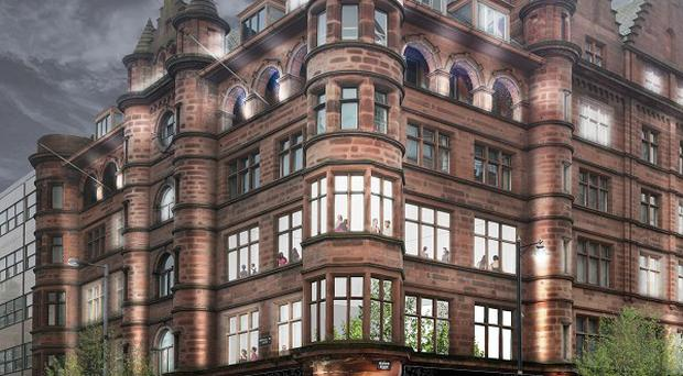 Artist impression of the planned boutique hotel following the revamp of the 100-year-old Scottish Mutual Building, which sits on the corner of Bedford Street and Donegall Square opposite City Hall, Belfast