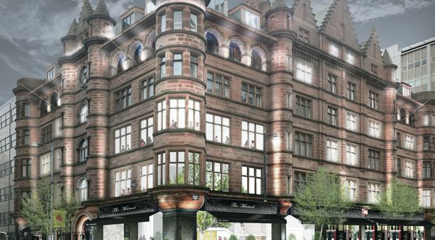 An artist's impression of the hotel planned for the Scottish Mutual building in Belfast city centre