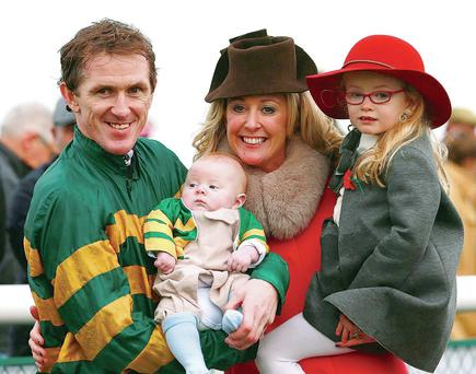 Tony McCoy with his son Archie, wife Chanelle and daughter Eve
