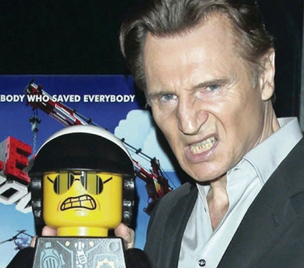 Liam Neeson voiced Aslan in Narnia, and the cop in Lego: The Movie (above)