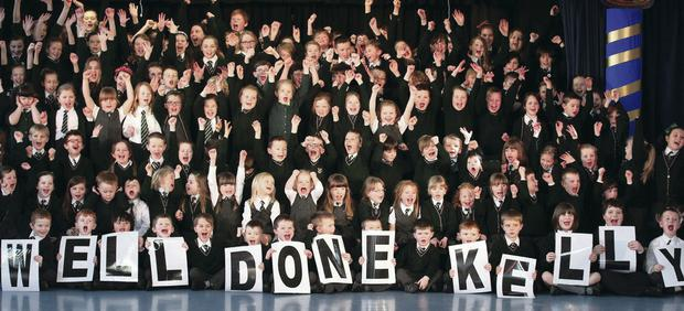 Rathmore Primary School pupils in Bangor show their support for Kelly. Pic David Fitzgerald