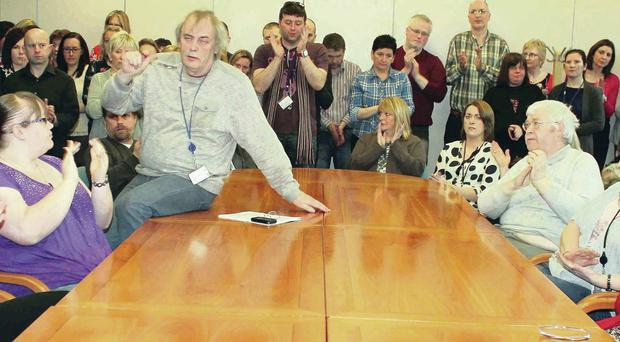 Mervyn Nicholl speaks on behalf of workers at a meeting in the DVA offices in Coleraine yesterday