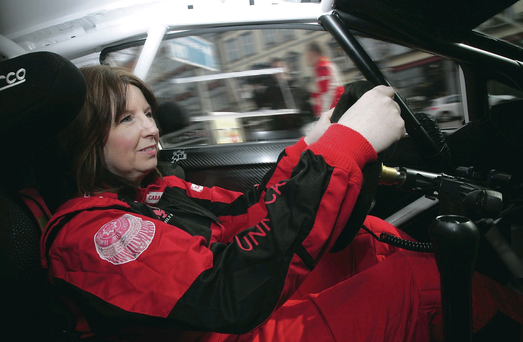 Joanne behind wheel of Robert Barrable's car