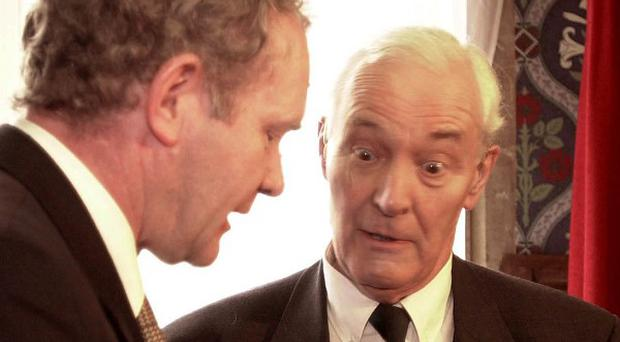 Martin McGuinness in conversation with Tony Benn.