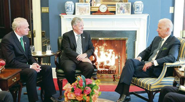 Peter Robinson and Martin McGuinness with US Vice President Joe Biden in the White House